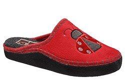 Kapcie MANITU 330202-4 Czerwone Pantofle domowe Ciapy