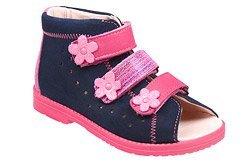 Sandałki Profilaktyczne Ortopedyczne Buty DAWID 1042 Granat+Róż GRC-BP