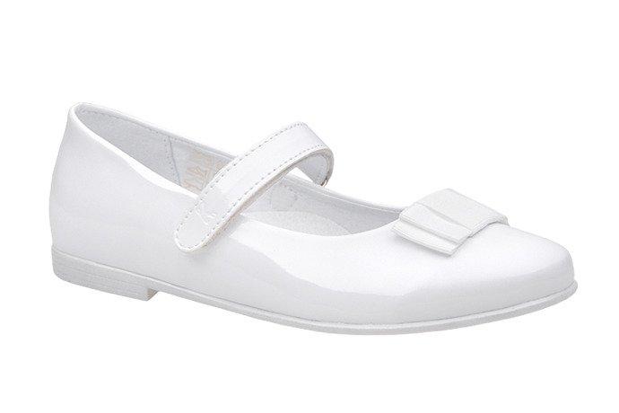 Balerinki buty komunijne KORNECKI 4246 Białe Lakierki