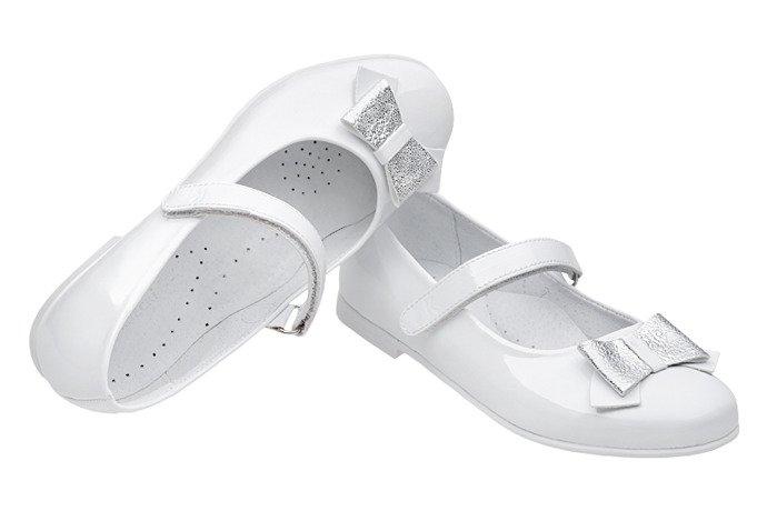 Balerinki buty komunijne KORNECKI 6270 Białe Lakierki