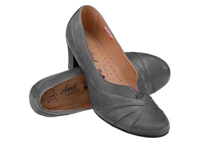 Czółenka na obcasie buty AXEL Comfort 1007 Grafitowe