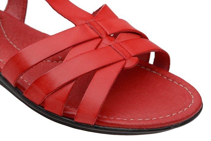 Hiszpańskie Sandały Gladiatorki CDN 876 Czerwone