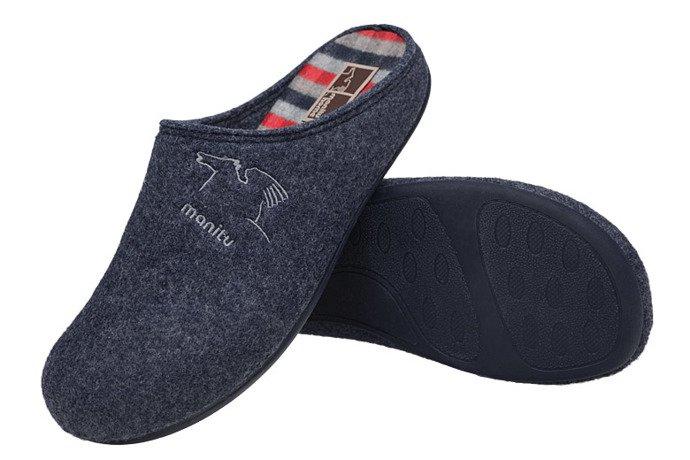 Kapcie MANITU 220263-5 Granatowe Pantofle domowe Ciapy