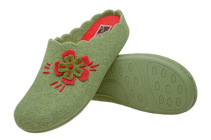 Kapcie MANITU 320524-7 Zielone Pantofle domowe Ciapy