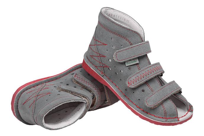 Kapcie profilaktyczne buty DANIELKI T105 T115 Szary+Czerwony