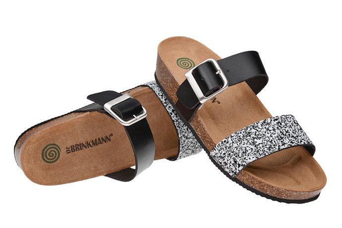 Klapki Dr Brinkmann 701126-1 Czarne/Białe Brokat