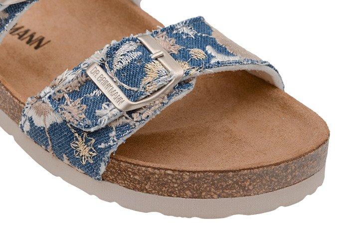 Klapki Dr Brinkmann 701143-5 Jeans Niebieskie Kwiaty