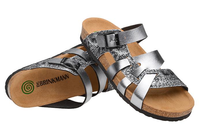 Klapki buty Dr Brinkmann 700991-9 Srebrne