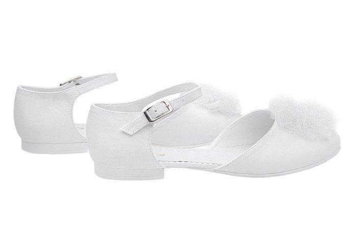 Pantofelki buty komunijne dla dziewczynki KMK 221 Białe