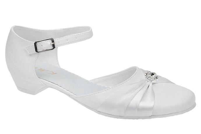 Pantofelki buty komunijne dla dziewczynki KMK 90 Białe