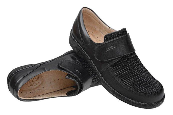 Półbuty AXEL Comfort 1206 Czarne H na rzepy