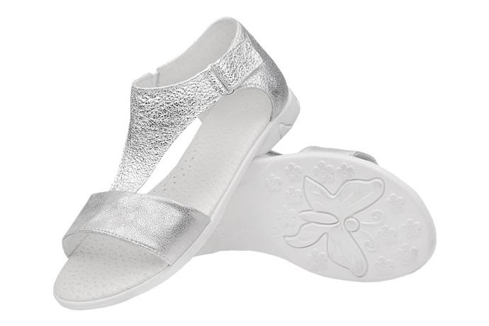 Sandałki dla dziewczynki KORNECKI 4750 Srebrne Brokat