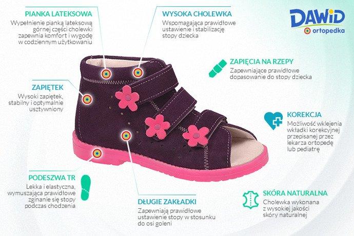 Sandały Profilaktyczne Ortopedyczne Buty DAWID 1043 Fiolet FC
