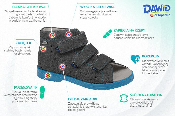 Sandały Profilaktyczne Ortopedyczne Buty DAWID 1043 Szary SZN