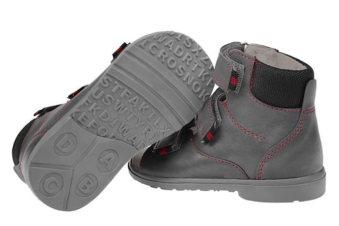 Trzewiki Profilaktyczne Ortopedyczne Buty DAWID 953-1 SZ Szary