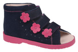 Sandałki Profilaktyczne Ortopedyczne Buty DAWID 1042 Granat+Róż GRC